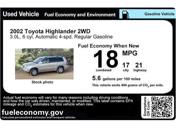 fuel economy labels used cars consumer reports news. Black Bedroom Furniture Sets. Home Design Ideas