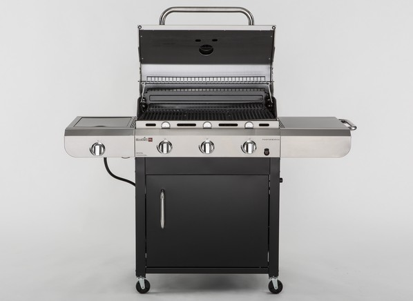 I own this BBQ Pro: Smaller footprint, those side tables fold down, plenty grill space ( rib eyes), no hotspots or flare ups, cooks ribs and steaks beautifully and evenly.
