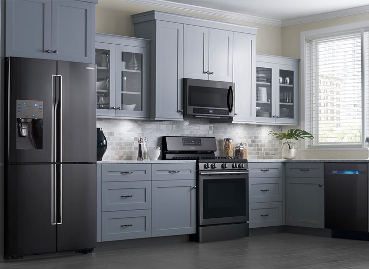 Image result for black stainless appliances