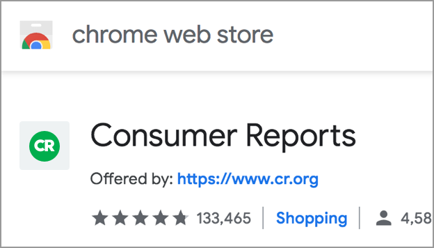Consumer Reports Chrome Extension